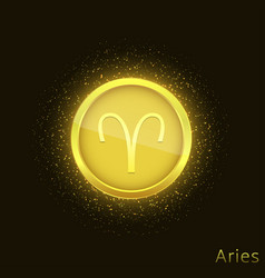 golden aries sign vector image