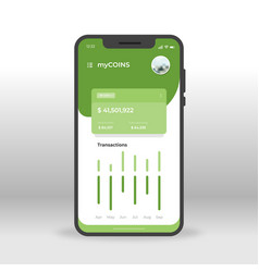Green online crypto currency wallet ui ux gui vector