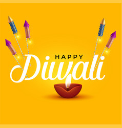 Happy diwali elegant design with diya and rocket vector