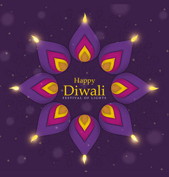 Happy diwali festival purple hindu flower candle vector