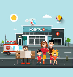 Happy family in front of hospital building with vector
