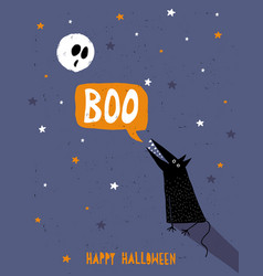 happy halloween moon and wofl vector image