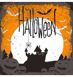 haunted castle and web vector image