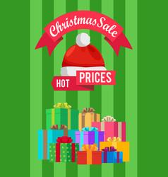 Hot prices xmas sale poster santa claus hat label vector