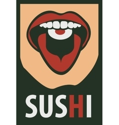 Human mouth eating sushi vector