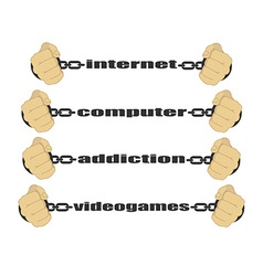 Internet computer addiction video games signs vector