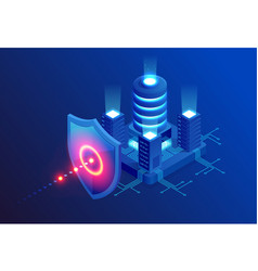 isometric protection network security and safe vector image