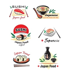 Japanese sushi seafood emblem or logo designs set vector