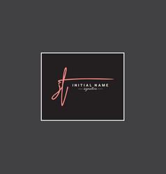 Jt initial signature logo - handwritten logo vector