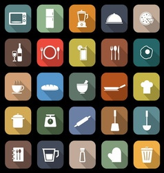 Kitchen flat icons with long shadow vector image