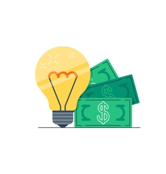 Light bulb and money bills vector