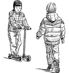 Little boys on a stroll vector