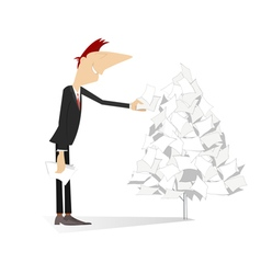 Man makes a paper tree vector image