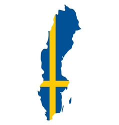 Map and flag of Sweden vector