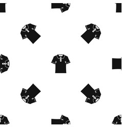 men polo shirt pattern seamless black vector image