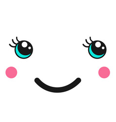 modern with cute smiling girl in kawaii style vector image