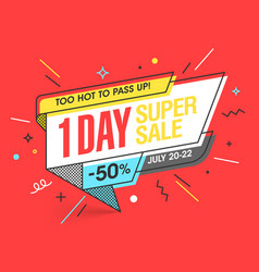one day super sale banner template in flat trendy vector image