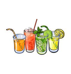 orange grapefruit lemon lime juice with ice in vector image