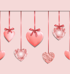 Pink seamless border with romantic heart garland vector