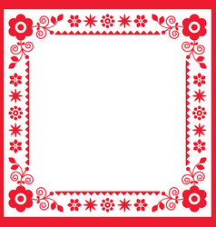 polish retro floral folk square frame or border vector image
