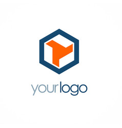 Polygon shape company logo vector