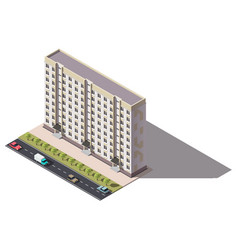 Public residential nine-storey building isometry vector