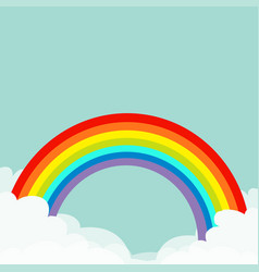 Rainbow in the sky fluffy cloud in corners vector