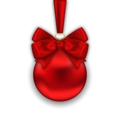 Realistic Christmas Red Ball with Satin Bow Ribbon vector