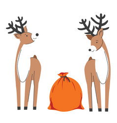 reindeers with sack presents christmas time vector image
