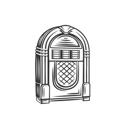 retro jukebox monochrome icon vector image