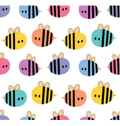 Seamless pattern with cartoon bees for design vector