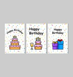 Set of birthday greeting cards design vector