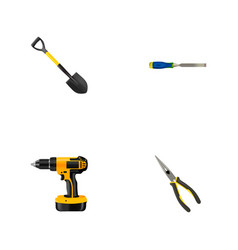 set of instruments realistic symbols with drill vector image