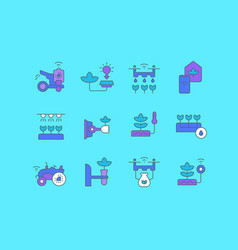 Set simple line icons agriculture technology vector