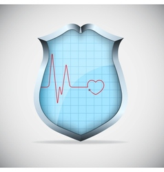 Shield with pulse vector image
