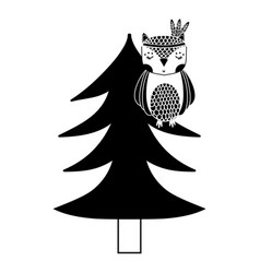 silhouette ethnic owl animal in pine tree vector image