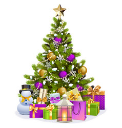 Snowy christmas tree with purple decorations vector