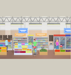 supermarket people shopping vector image