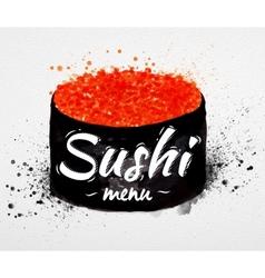 Sushi menu poster watercolor vector