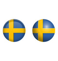 sweden flag under 3d dome button and on glossy vector image