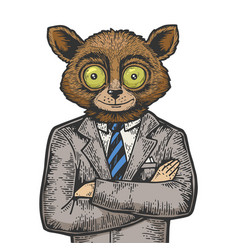 tarsier businessman color sketch engraving vector image