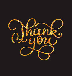 Thank you gold glitter card design chic vector