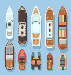 Top aerial view boat and ocean ships set vector