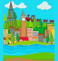 train ride passing cirty buildings vector image