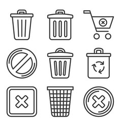 Trash bin icons set delete symbol line style vector