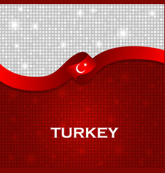 Turkey flag ribbon shiny particle style vector