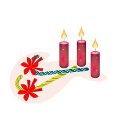 Two Lovely Candy Canes and Three Christmas Candles vector image