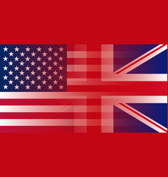 union jack and flag usa gradient superimposition vector image