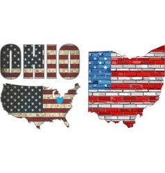 USA state of Ohio on a brick wall vector