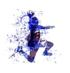 Watercolor sketch of a handball player vector